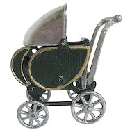 Vintage 1930's Kilgore Cast Iron Dollhouse Baby Buggy