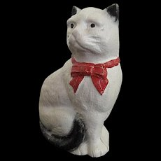Vintage Cast Iron White and Black Cat still Bank w/Red Ribbon Tie - Early 1900's