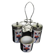 Antique 19th c. Imari Porcelain Salt, Pepper, Mustard Pot Set w/EPNS Silver Caddy - Made in England