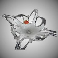 Murano hand-blown White and clear Cased Art Glass Candy/Nut Dish - made in Italy