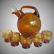 Cambridge Amber Ball Decanter w/5 cordial glasses
