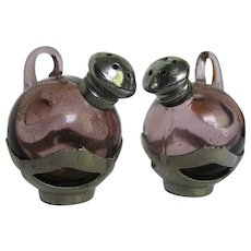 Vintage Amethyst Glass Ball Pitcher Salt & Pepper Shakers - Japan