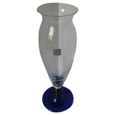 Zwiesel Glass Vase - Clear crystal w/ cobalt blue glass base - fluted trim - handblown - made in Germany
