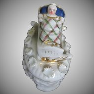 Staffordshire Fairing with Cradle and Baby Dresser Trinket Box - late 1800's