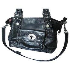 Elaine Turner Genuine Leather Black Purse - Pink Interior - 5 compartments - Shoulder Strap