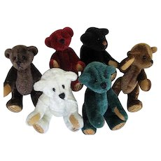 Chu Ming Wu Miniature Handmade/Hand-stitched Teddy Bears - Set of 6 - signed/dated
