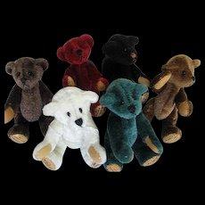 Chu Ming Wu Miniature Handmade/Hand-stitched Teddy Bears - Set of 6 - signed/dated