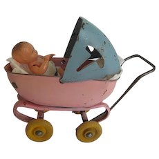 Wyandotte Pre WW II Pink & Blue metal Toy Buggy w/doll made in Germany - 1940's era