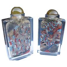 Chinese Glass Reverse Painted Snuff Bottles - Set of 2
