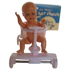 """1950's Jeryco Pink Dollhouse Baby Stroller """"Just Like Mothers"""" w/celluloid Jointed Doll made in Italy"""