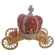Elegant Red & Clear Crystal with Gold colored metal Stage Coach Trinket Box Figurine