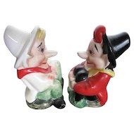 Vintage 1950's era Long Nose Sitting Elves - Porcelain Salt & Pepper shakers - made in Japan