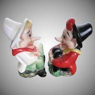 Vintage 1950's era Long Nose Sitting Elves - Porcelain Salt & Pepper shakers - made in Japan
