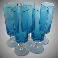 Vintage Blue Barware Turquoise Cordial/Tall Shot Glasses - 1940's era - Set of 5