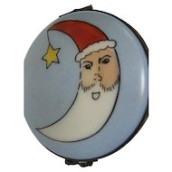 Limoges Half Moon Santa on Sky Blue background - hand-painted - France