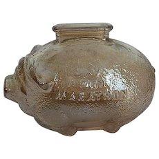 1960's Advertisement Marigold Carnival Glass Piggy Bank - Ohio Oil Co. - Save with Marathon