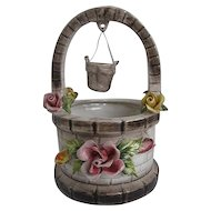 Vintage Capodimonte Porcelain Wishing well planter w/Roses - Made in Italy
