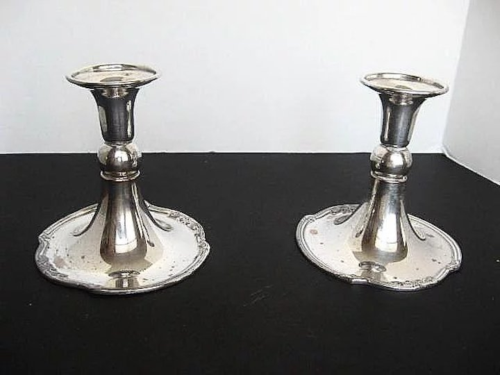 1908 Silver-plated Candle sticks/holders by Friedman Silver Co. - Brooklyn N.Y. & 1908 Silver-plated Candle sticks/holders by Friedman Silver Co ...