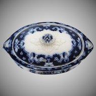 Antique Royal Staffordshire Pattern Flo Blue Casserole/Tureen Serving Bowl - Burslem England - late 1800's