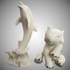 """Lennox """"Lucky Elephant"""" & Porpoise Porcelain figurines"""