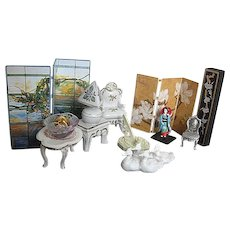 Vintage porcelain Dollhouse Furniture, Miniatures and Accessories