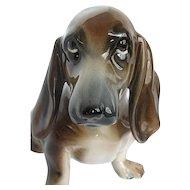 Wien Keramos Kunst Keramik Bortolotti Vintage Dachshund Puppy Dog Sits Figurine - made in Austria
