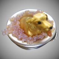 Estee Lauder Pleasures PUPPY IN A TUB figural Solid Perfume Compact - Rare - NIB