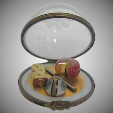 Hand-painted Cheese Variety Platter w/knife Under Mouth-Blown Glass Dome Limoges Box - by Beauchamp - made in France