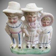 German Bisque small figurine of Three children - One Boy - Two Girls - artist initials