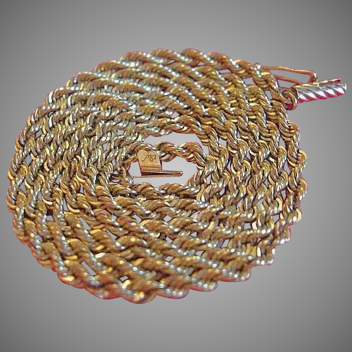 e16537610715f Vintage 14 karat Yellow Gold Rope Chain Necklace 21 - Artist Michael Anthony