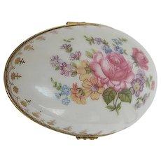 Hand-painted porcelain Floral Easter Egg Trinket Box - made in Limoges France
