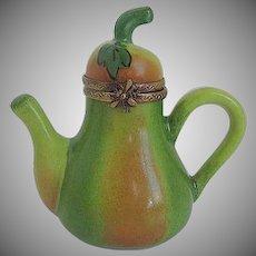 Vintage Limoges LaGloriette porcelain Pear Teapot Trinket Box - made in Limoges France