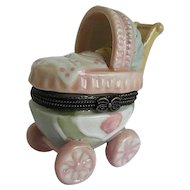 Porcelain Baby and Buggy with baby bottle and pacifier trinket box