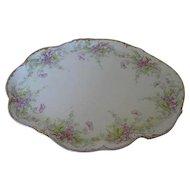 """1900 c. Limoges Elite Purple Floral & Fauna 12"""" Oblong Serving Platter - Made in France"""