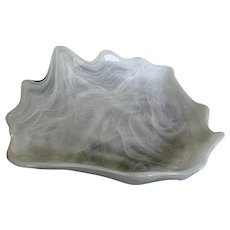 White Marbleized designed Shell Shaped Glass Dish w/clear glass overlay