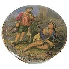 Porcelain Bartolomeo Esteban Murrilo - Europeon artist 1617-1682 - trinket box - made in Italy - signed - late 1800's