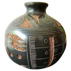 Hand made-signed artist clay pot