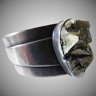 "signed ""Mitzie""-Santa Fe Heavy sterling bracelet"