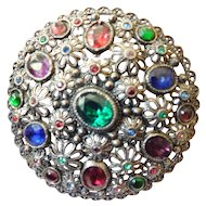 Large jeweled vintage brooch