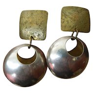 Big bold-beautiful silver and bronze earrings-Vintage
