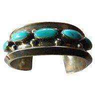 signed Southwest-Navajo turquoise-sterling bracelet