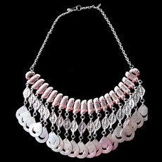 Fabulous sterling silver-coral beads necklace