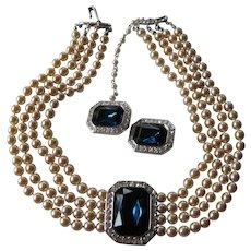 Early KJL-Kenneth J. Lane necklace with earrings