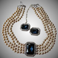 Early KJL-Kenneth J. Lane necklace with earrings