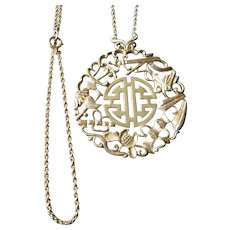 14k-gold Asian pendant and chain