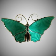 signed David Andersen sterling enameled Butterfly pin