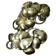 Sterling-lily pad-Vintage earrings