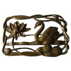 Vintage open work Swan pin