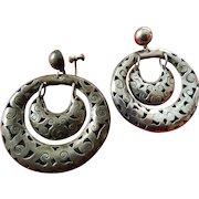 Mexican sterling double hoop earrings