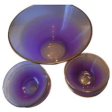1950's -Purple glass bowl with Serving bowls